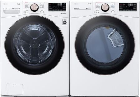 White Smart Side By Side Front Load Laundry Pair with WM4000HWA 27