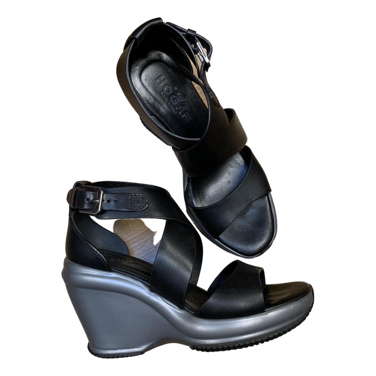 Hogan N Black Leather Sandals for Women 35 IT