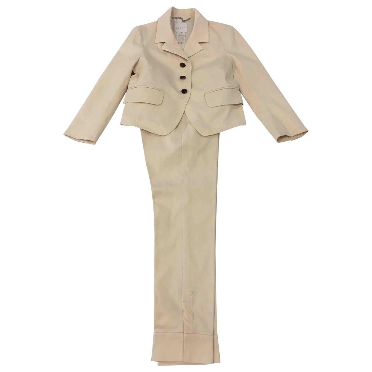 Celine \N Beige Cotton Trousers for Women 36 FR