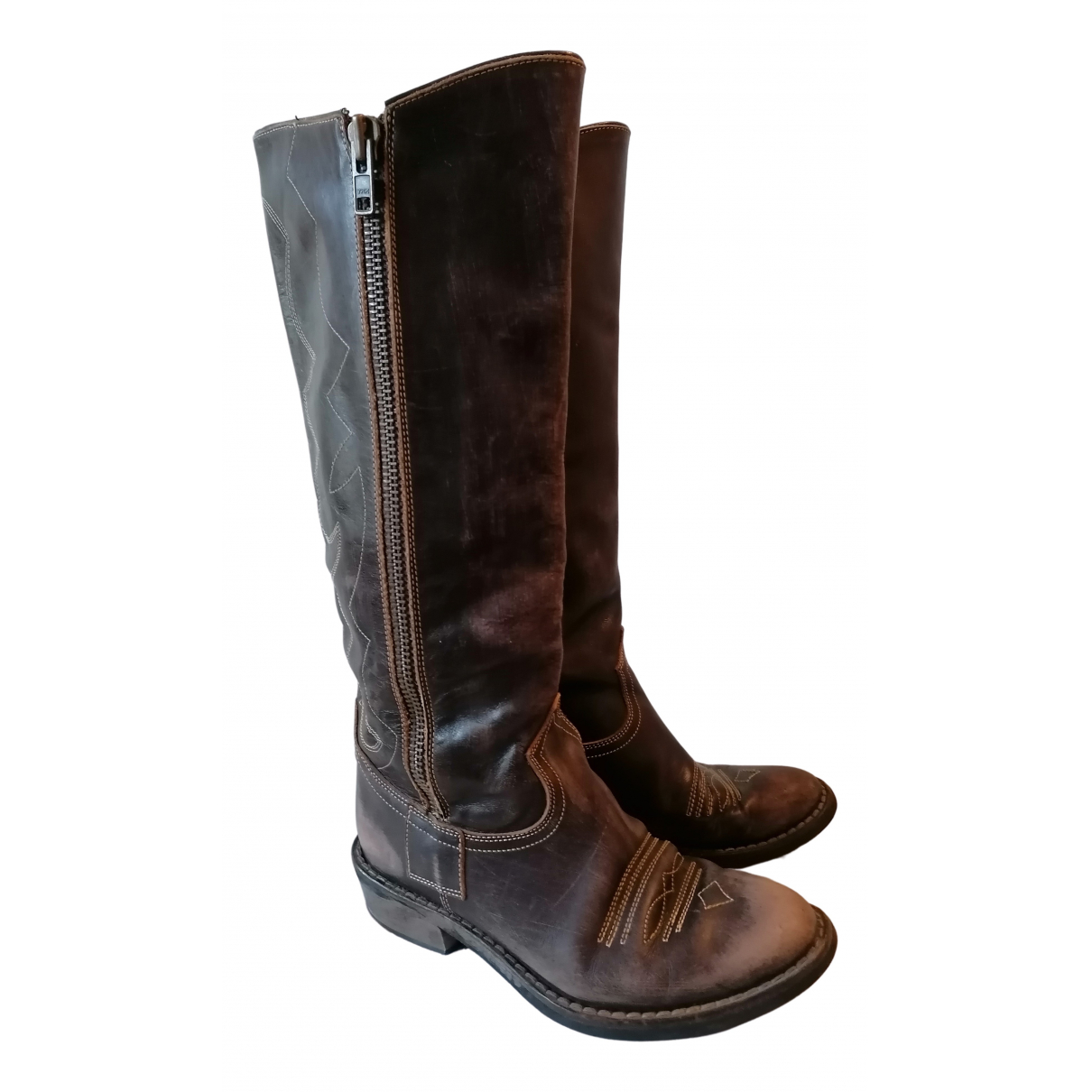 Non Signé / Unsigned N Brown Leather Boots for Women 37.5 IT