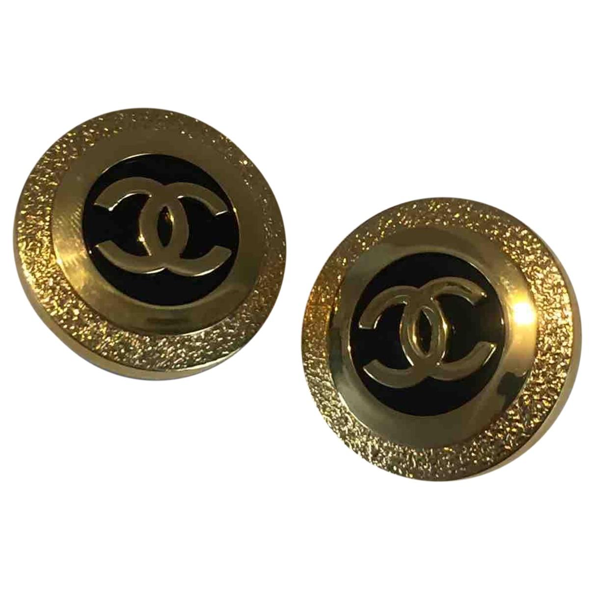 Chanel CC Gold Metal Earrings for Women N
