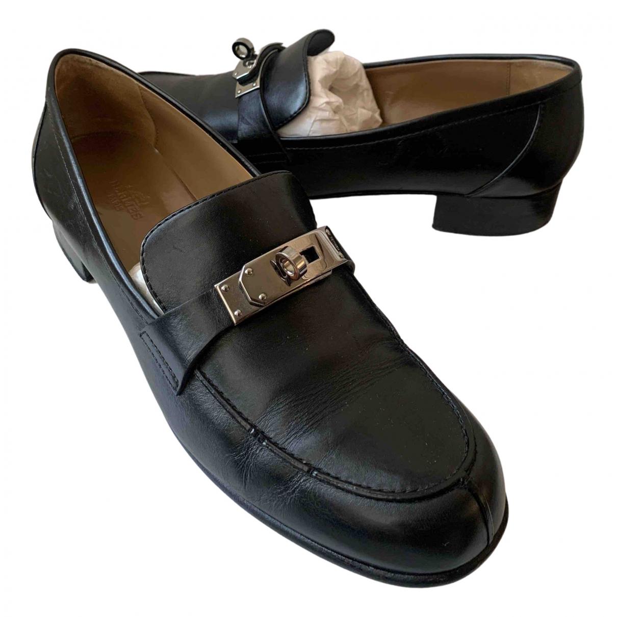 Hermès \N Black Leather Flats for Women 40 EU