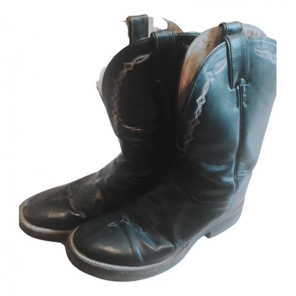 Tony Lama - Bottes.Boots   pour homme en cuir - noir