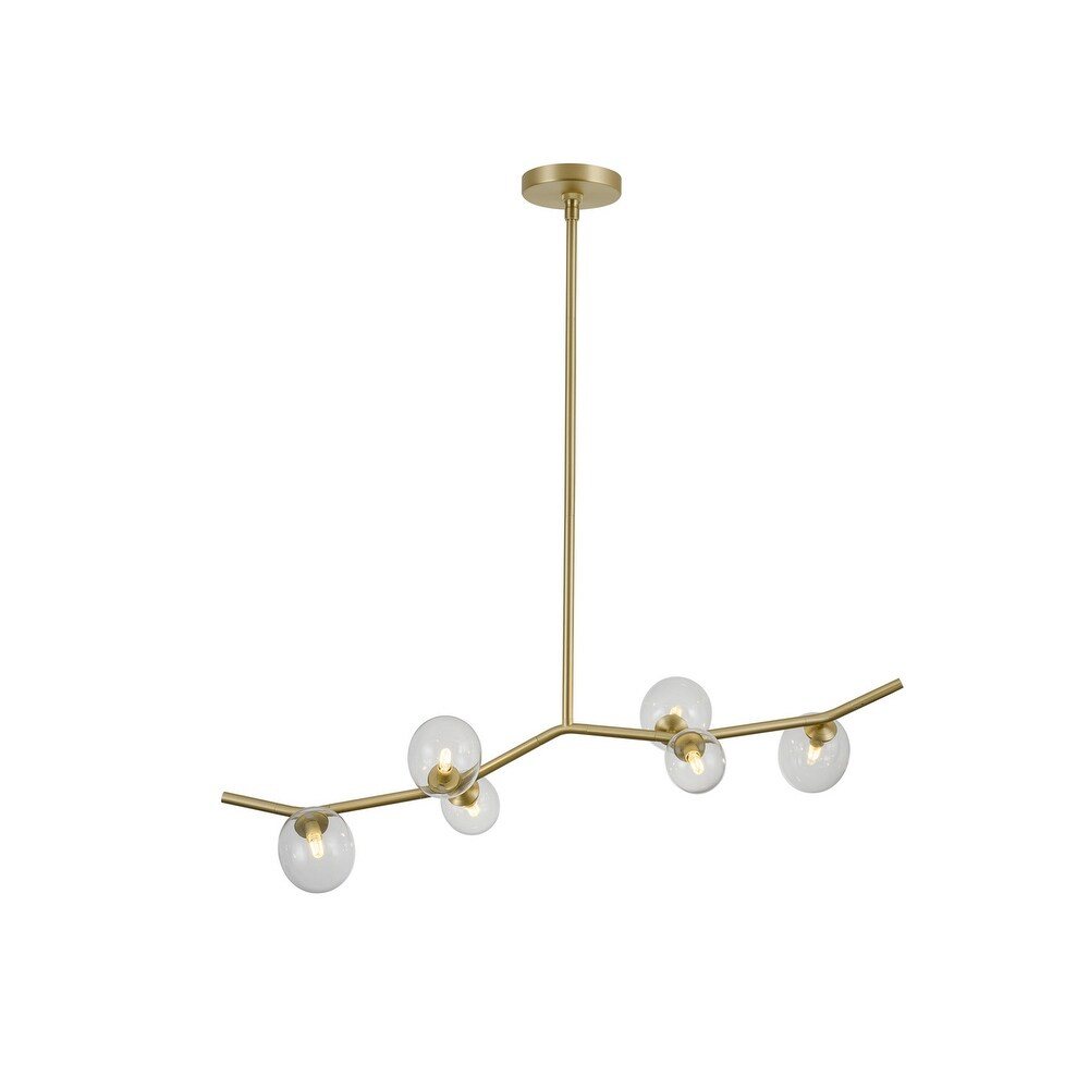 Avenue  HF4806CLR Six Light Chandelier Hampton Brushed Brass w Clear - One Size (Clear - One Size)