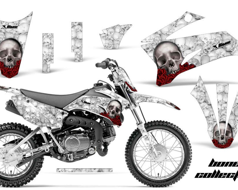 AMR Racing Graphics MX-NP-YAM-TTR110-08-18-BC W Kit Decal Sticker Wrap + # Plates For Yamaha TTR110 2008-2018áBONES WHITE
