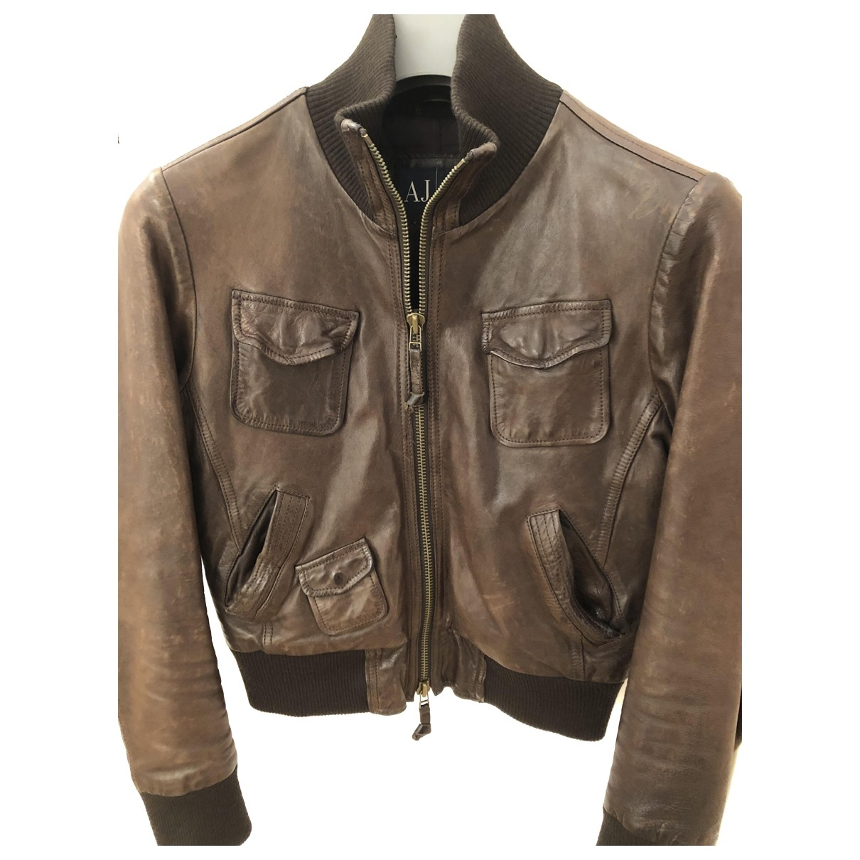 Armani Jeans \N Brown Leather Leather jacket for Women 42 IT