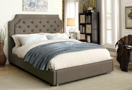 Orianna Collection CM7674F-BED Full Size Bed with Nailhead Trim  Pull-out Footbaord Drawers  Button Tufted Headboard  and Padded Linen-Like Fabric in