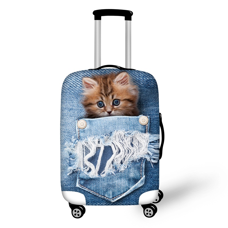 3D Jeans Cat Animals Pattern Waterproof Suitcase Protector for 19 20 21