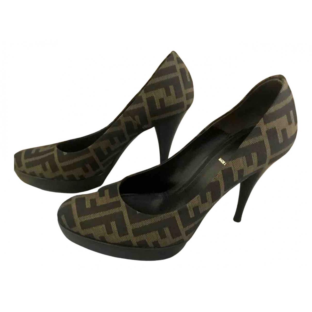 Fendi N Brown Leather Heels for Women 37 IT