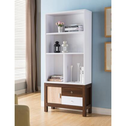 BM179712 3 Shelves Wooden Display Cabinet With 1 Divider In White And