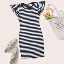 Striped Ruffled Bodycon Mini Dress