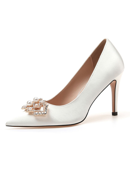 Milanoo Women Party Shoes White Pointed Toe Rhinestones Satin High Heel Evening Shoes