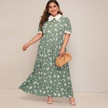 Grosse Grossen - Kleid mit Kontrast Saum und Blumen Muster