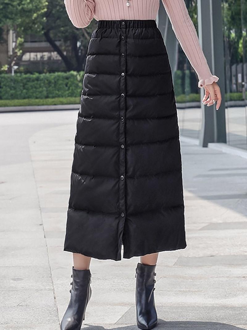 Ericdress Plain A-Line Button Casual Skirt