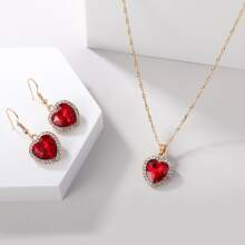 1pc Gemstone Heart Pendant Necklace & 1pair Earrings