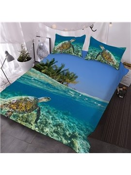 Turtles Near The Shore Printed -3-Piece Comforter Sets