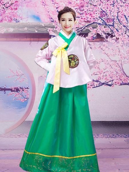 Milanoo Halloween Korean Costume Traditional Women's Satin Hanbok Dance Dress