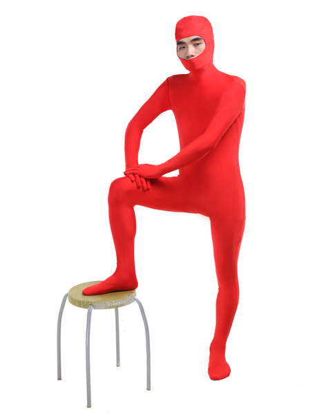 Milanoo Morph Suit Red Lycra Spandex Fabric Catsuit with Face Opened Men's Body Suit