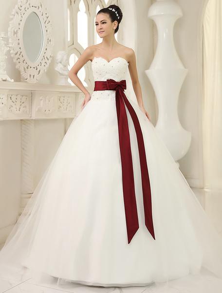 Milanoo Vestido de novia de tul de color marfil con lazo de cola capilla