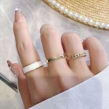 3pcs Chain Decor Ring