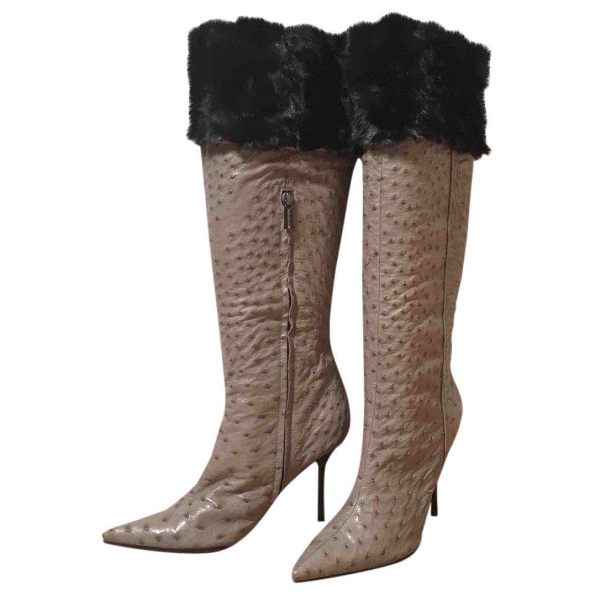 Non Signé / Unsigned \N Grey Ostrich Boots for Women 39 EU