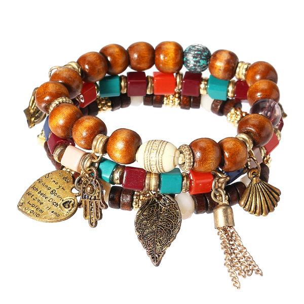 Charm Bracelets Multilayer Tassel Leaf Anchor Bracelet Love Heart Christmas Gift for Women