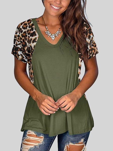 Yoins Patchwork Leopard Short Sleeves Blouse