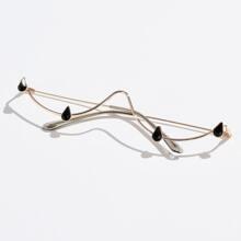 Brille mit Strass Detail und halbem Rahmen ohne Linse