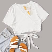 Strick T-Shirt mit Wickel Design und Band vorn
