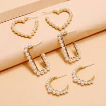 3pairs Faux Pearl Beaded Cuff Hoop Earrings
