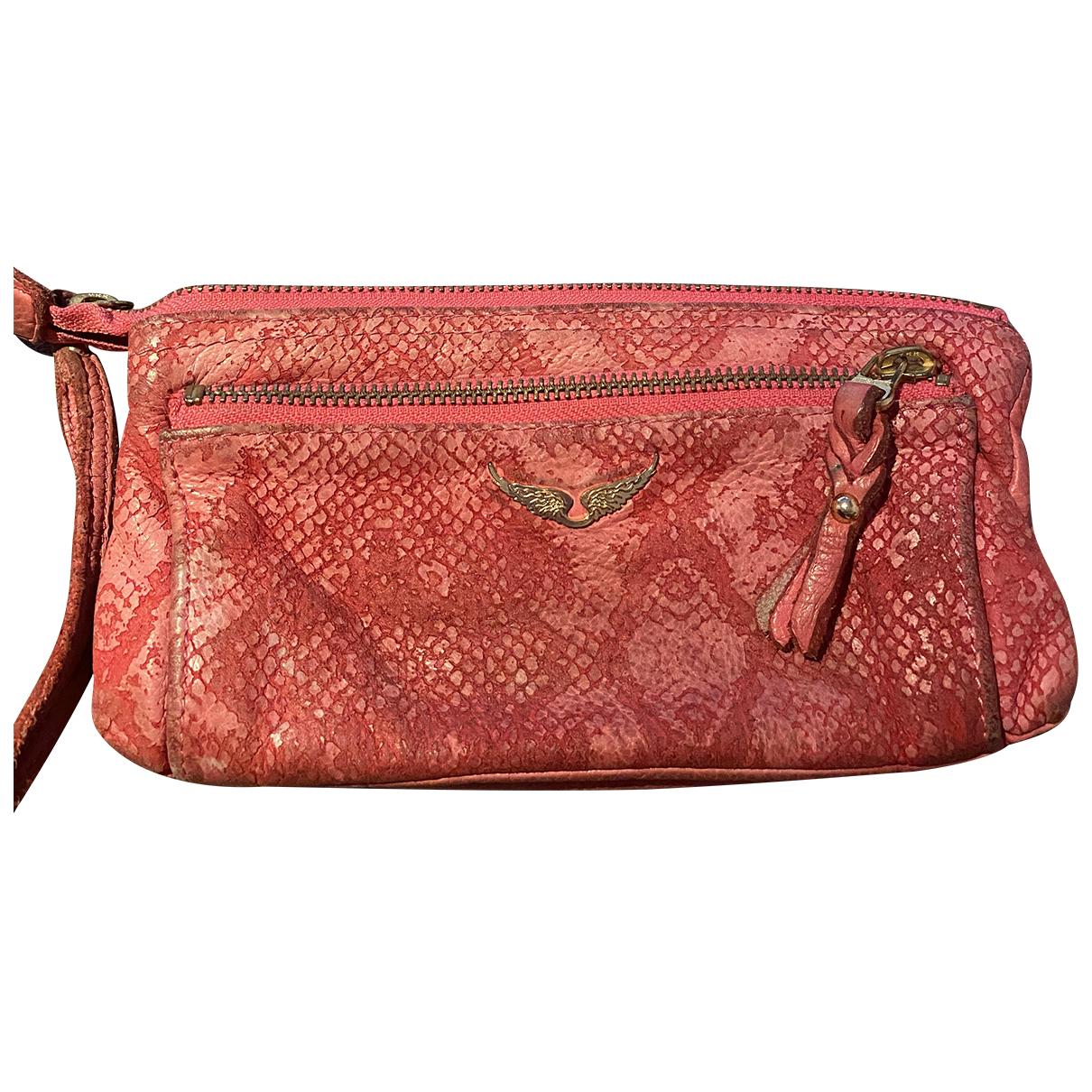 Zadig & Voltaire - Pochette   pour femme en cuir - rose