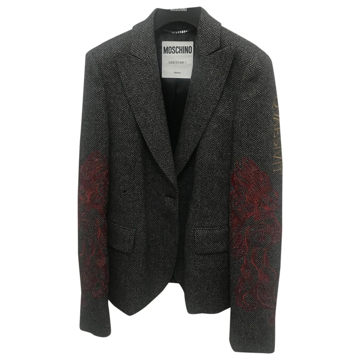 Moschino - Veste   pour femme en laine - anthracite