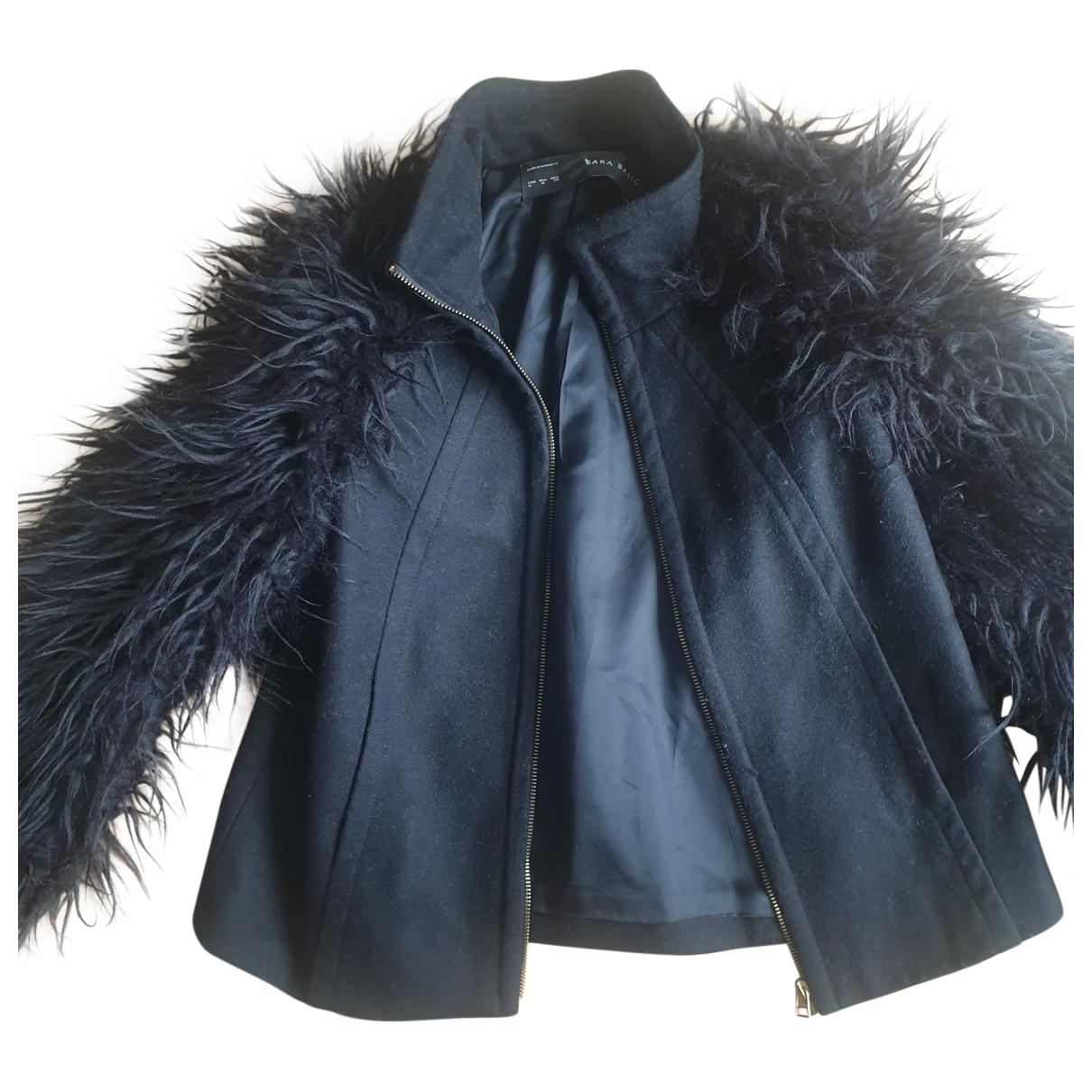 Zara - Veste   pour femme en fourrure synthetique - noir