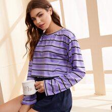 Striped Tee & Shorts Lounge Set