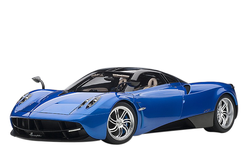 Pagani Huayra Metallic Blue with Black Top and Silver Wheels 1/12 Model Car by Autoart