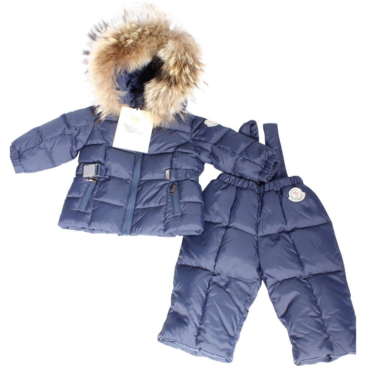 Moncler Fur Hood Blue jacket & coat for Kids 6 months - up to 67cm FR