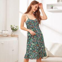 Cami Nachtkleid mit Blumen & Vogel Muster und Raffungsaum