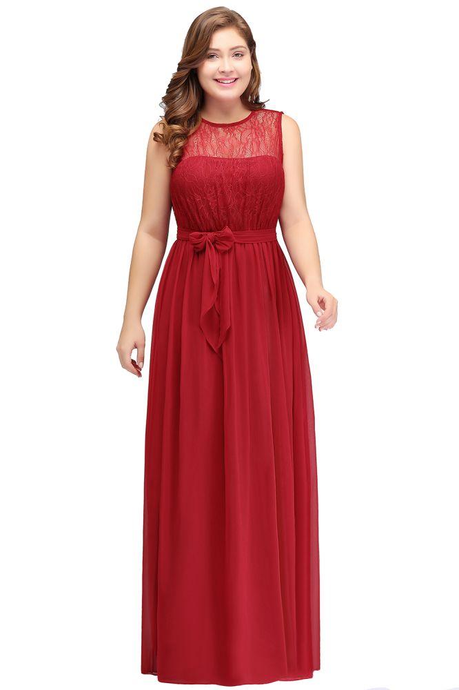 JAELYN | A-Line Crew Long Sleeveless Chiffon Plus size bridesmaid Dresses with Ruffles Bow