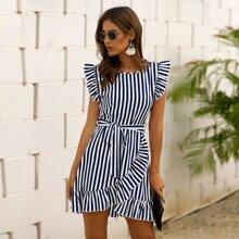 Striped Wrap Ruffle Hem Belted Dress