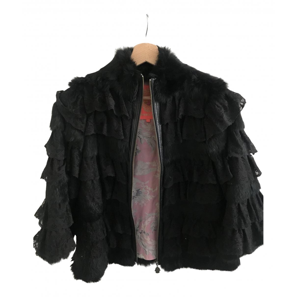 Manoush - Manteau   pour femme en lapin - noir