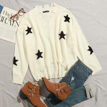 Pullover mit sehr tief angesetzter Schulterpartie, Riss und Stern Muster