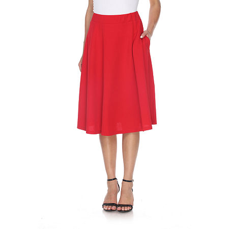 White Mark 'Saya' Flare Skirt, Medium , Red