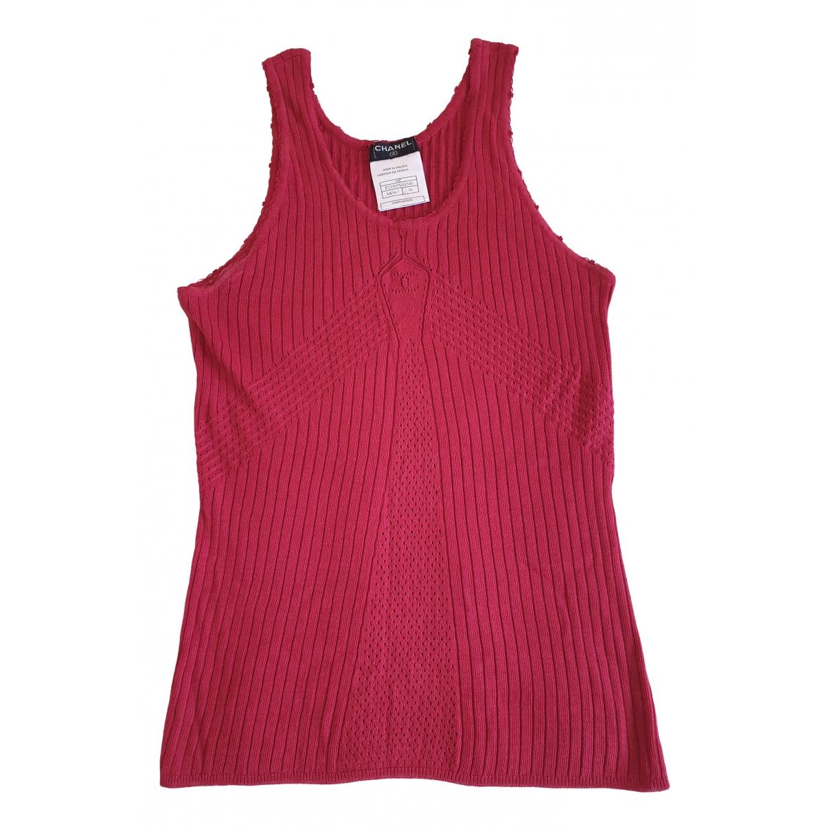 Chanel - Top   pour femme en coton - rouge