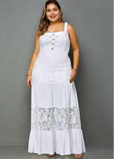 Lace Panel Spaghetti Strap Plus Size Maxi Dress - 3X