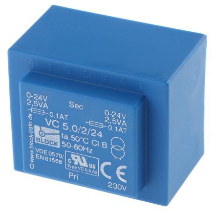 Block 24V ac 2 Output Through Hole PCB Transformer, 5VA