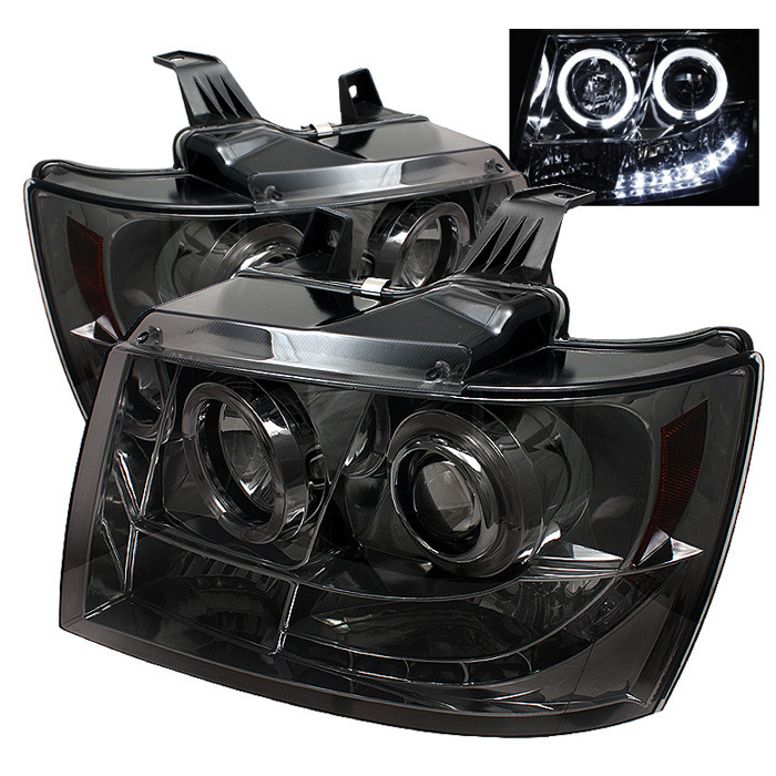 Spyder Auto PRO-YD-CSUB07-HL-SM Smoke LED Halo Projector Headlights with High H1 and Low H1 Lights Included Chevrolet Avalanche 07-13