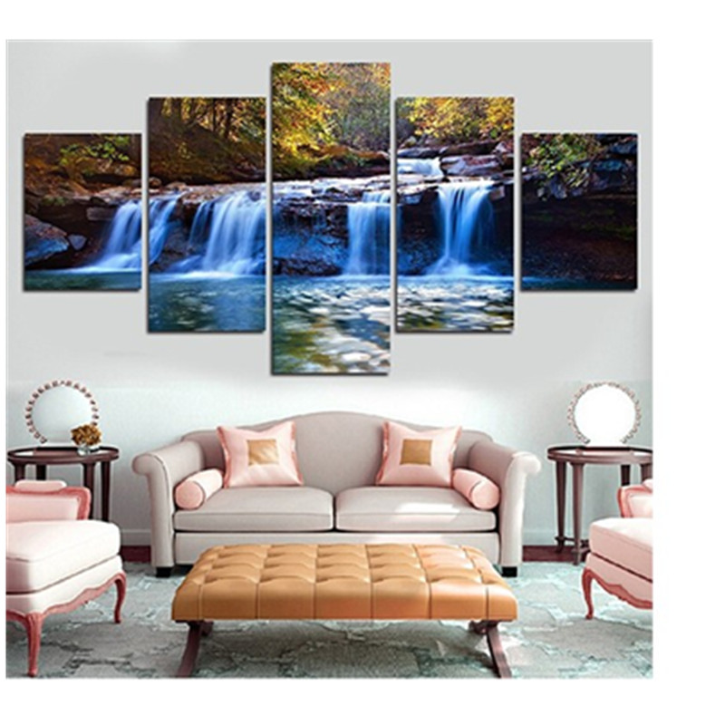 Blue Waterfall Surrounded by Trees Hanging 5-Piece Canvas Non-framed Wall Prints