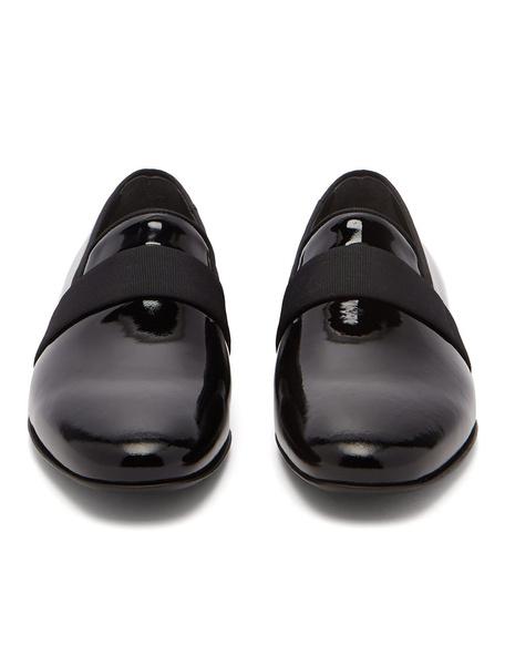 Milanoo Black Dress Shoes Men Cowhide Round Toe Slip On Groom Shoes Party Shoes