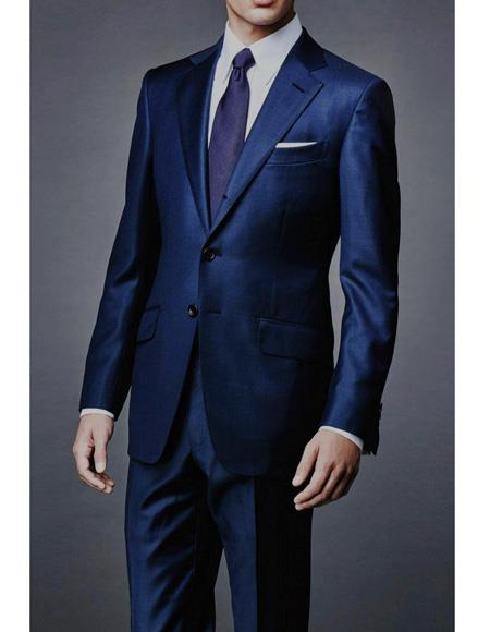 Mens James Bond Navy Wool Blend Two Piece Sharkskin Suit