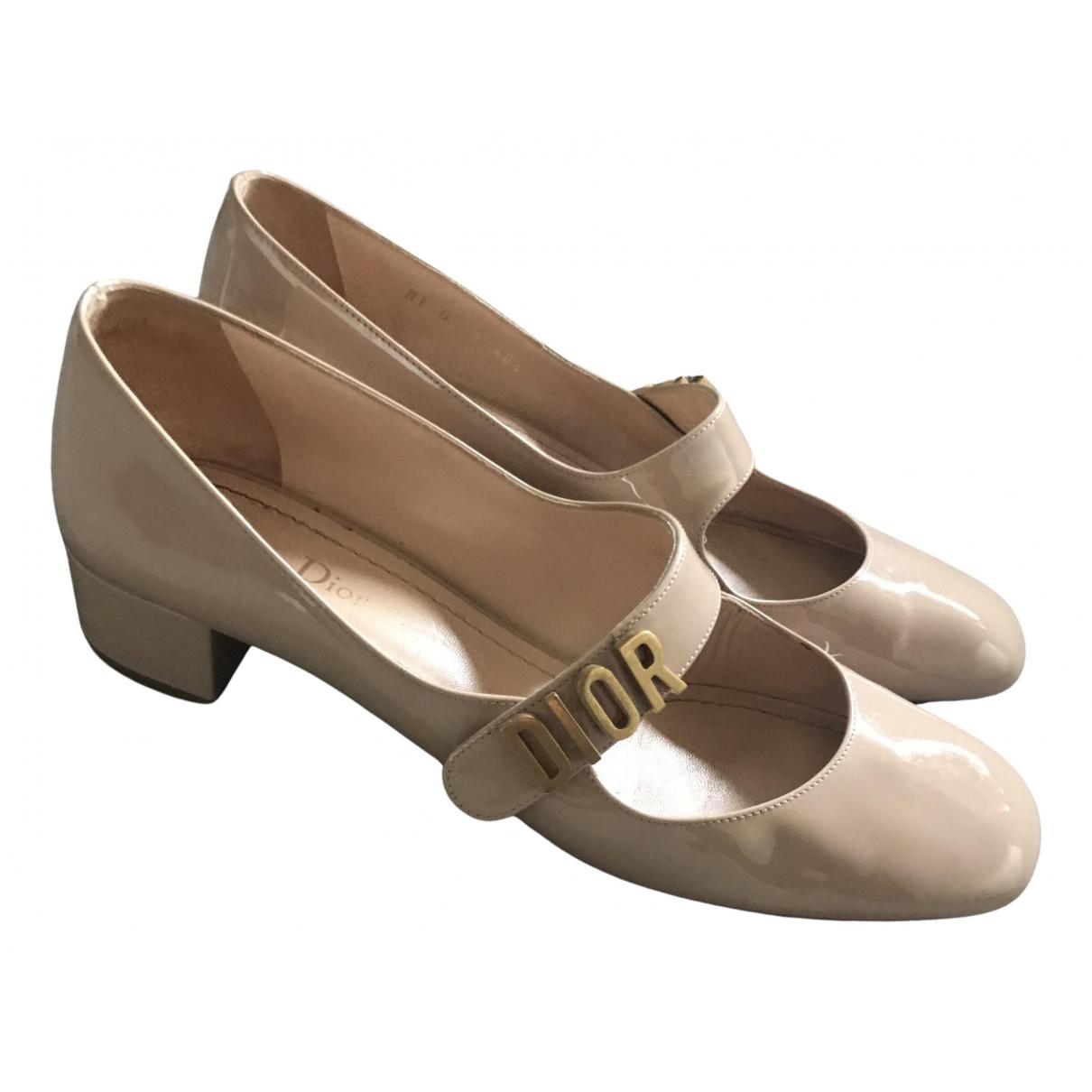 Dior - Ballerines Baby-D pour femme en cuir verni - beige